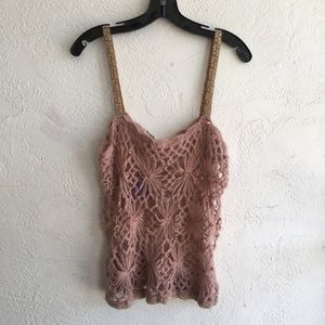 FREE PEOPLE Gold Trim Knit Tank